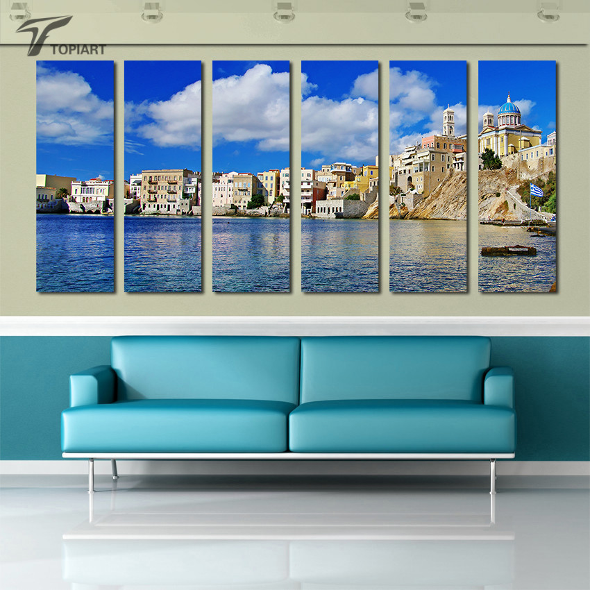 island sea wall art greek syros canvas print blue sky and sea landscape painting multi panel set for room decoration no frame