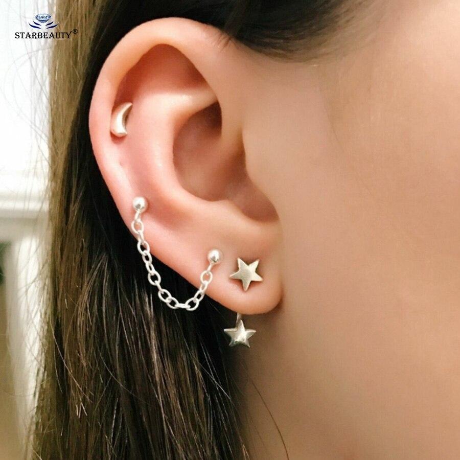 Starbeauty 3 Pcs Lot New Silver Color Star Tassel Ear Piercing