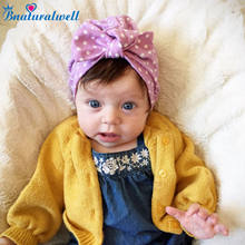 f3feb830022 Bnaturalwell Baby Girls turban hat with bow turbans for tots Infant toddler  Topknot beanie Baby girls shower gift stretchy H119S