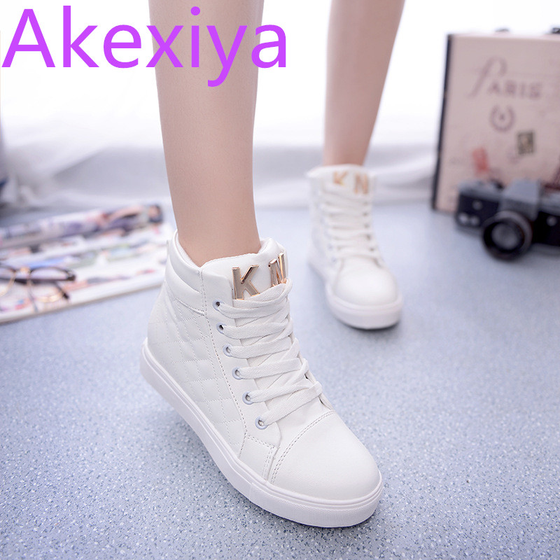Akexiya Spring And Autumn Fashion High Top Shoes Women High-grade Solid Color For Women Canvas Shoe Zapatos Mujer high tech and fashion electric product shell plastic mold