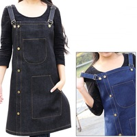 New Fashionable Both Shoulders Sleeveless Denim Apron Bib Coffee Shop Hairdresser Chef Unisex Cowboy Work Cloths