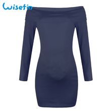 Wisefin Off Shoulder Maternity Dresses Long Sleeve Pregnancy Clothes Autumn Pregnancy Dress Pregnant Sweater Dress vestidos robe
