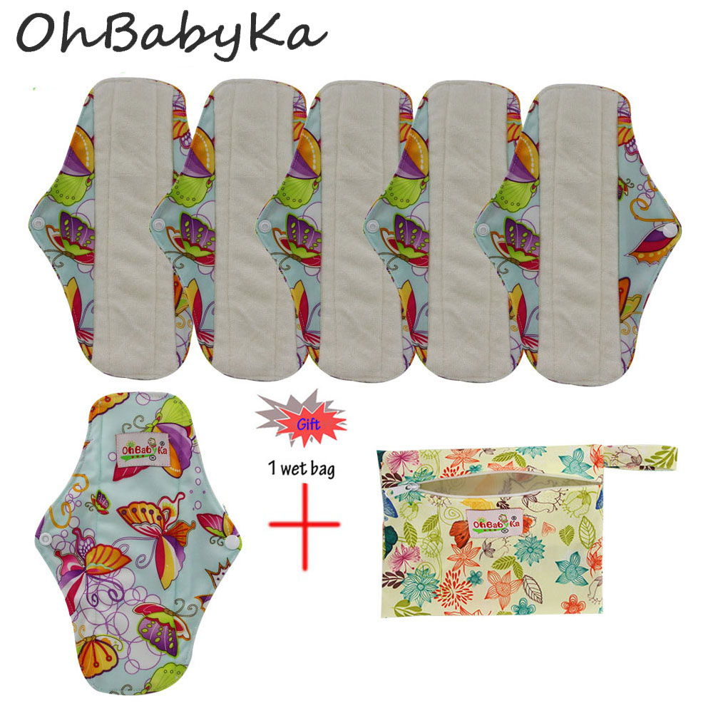 Ohbabyka 6pcs Menstrual Pads Washable Sanitary Pads Bamboo Cloth Pads Reusable Waterproof Panty Liners and 1pc Mini Wet Bag