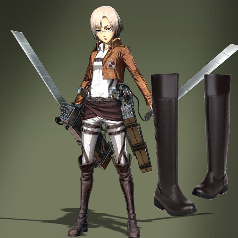 Attack On Titan Cosplay Long Boots Cosplay Boots Shoes Bota Shingeki No Kyojin Eren Jaeger Ackerman Knee Boots