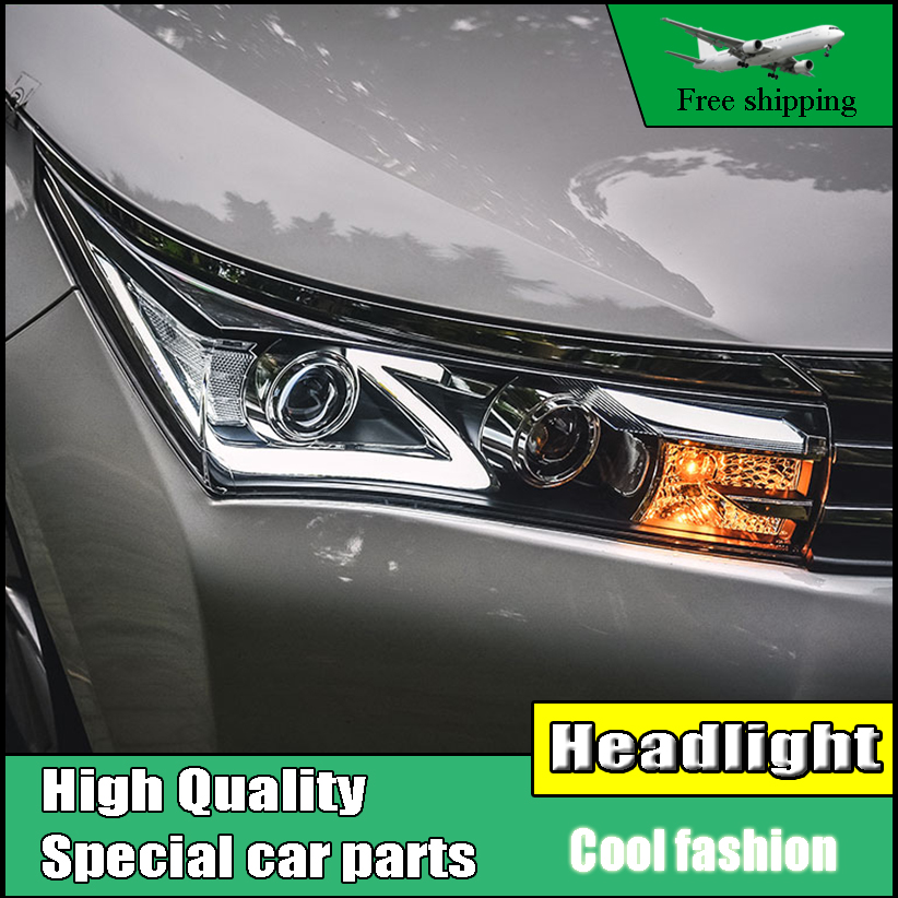 Car Styling Head Lamp For Toyota Corolla Headlights 2014-2016 Corolla LED Headlight DRL Double Beam lens H7 HID Xenon bi-xenon hireno headlamp for hodna fit jazz 2014 2015 2016 headlight headlight assembly led drl angel lens double beam hid xenon 2pcs