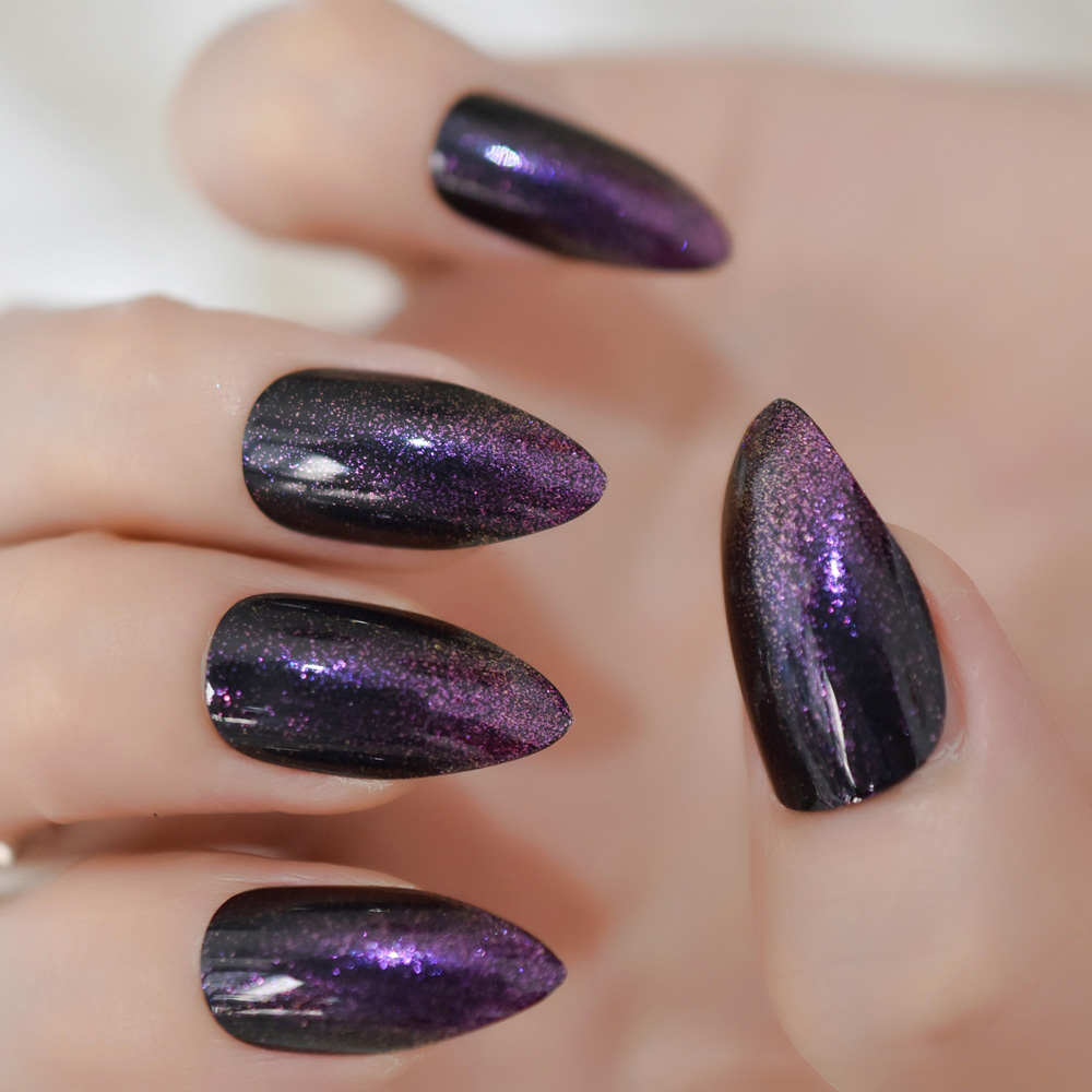Us 1 5 Purple Glitter French Black Stiletto False Nail Almond Art Tips Almond Fake Nails Press Daily Wear In False Nails From Beauty Health On