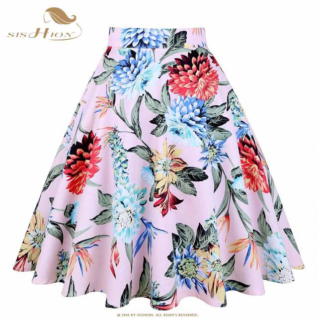 3b326f86e61 placeholder SISHION Design Floral Skirt Women High Waist Plus Size White  Pink Green Blue Ladies Summer Skirts