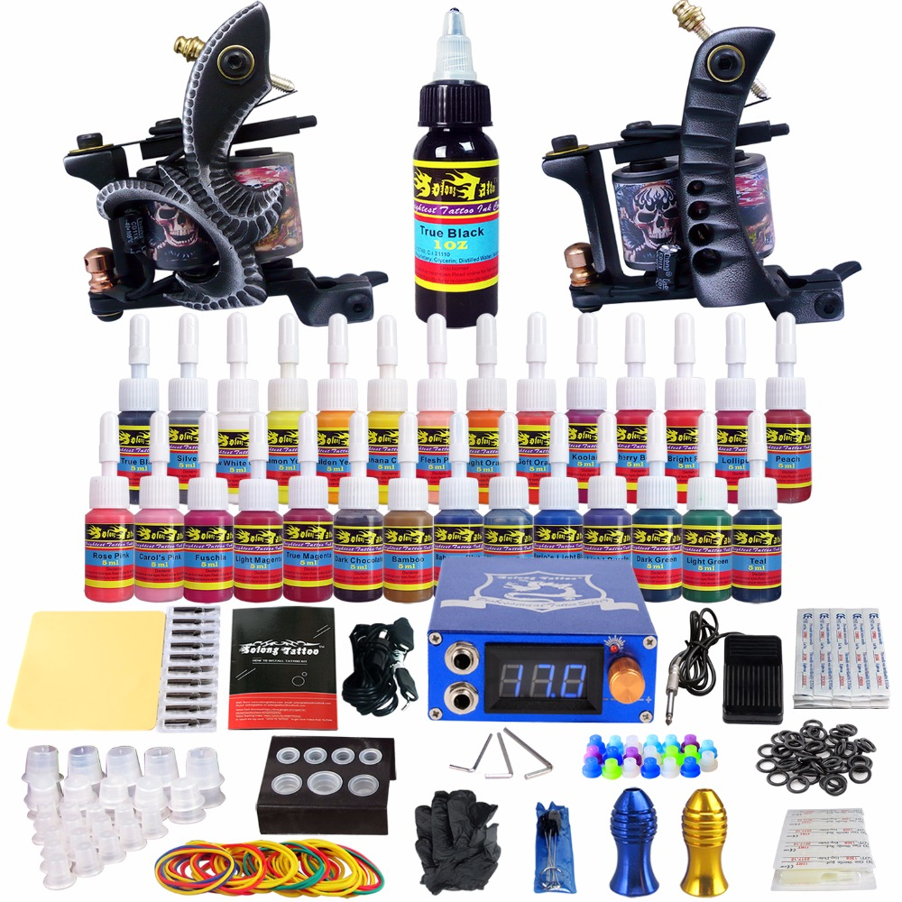 Solong Tattoo complete professional 2 tattoo Machine Guns set Tattoo Kit 28 Inks Power Supply Needle Grips power supply TKB04 europe god of darkness robert recommend gp self lock grips gp3 professional tattoo artist grip