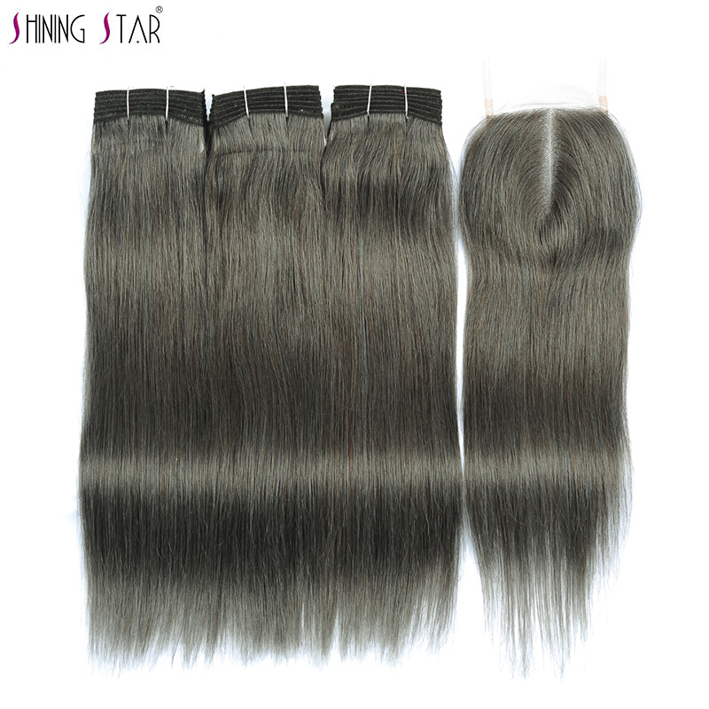Shiningstar Brazilian 3 Grey Bundles With Closure Straight Human Hair Colored Linen Gray Hair Weave Bundles With Closure Noremy
