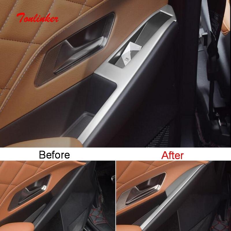 Tonlinker 4 pcs Painel de Controle Do Windows Tampa adesivo para CITROEN DEESSE DS7 2018-19 Car Styling Tampa de aço Inoxidável adesivos