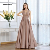 BEPEITHY New A line Glitter Gold Evening Dress Long 2020 Robe De Soiree Reflective Sexy Backless Prom Party Gown Abendkleider