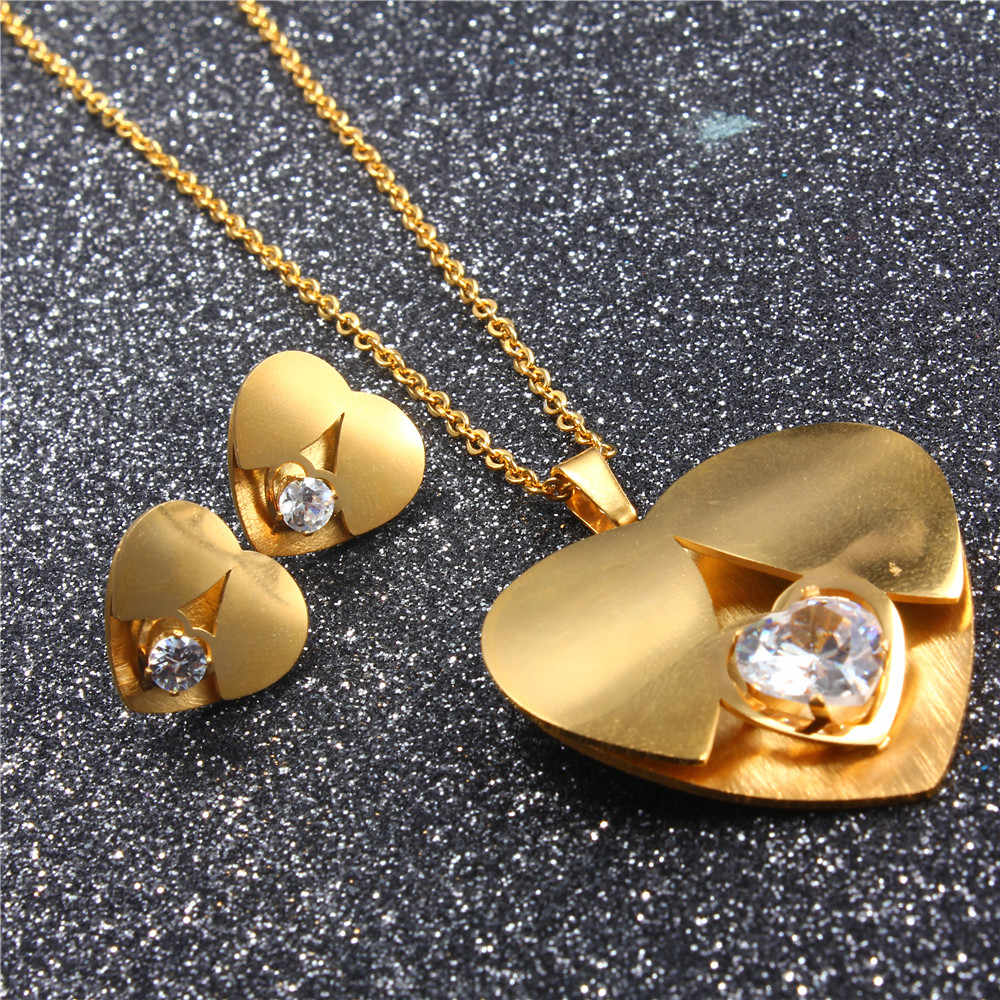 OUFEI stainless steel fashion heart zircon gift bridal jewelry sets for women african earrings and necklaces set for party