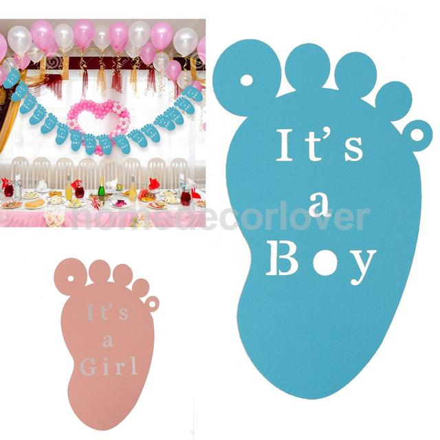 Sweet Its A Boygirl Hollow Cut Foot Feet Hanging Banner Bunting