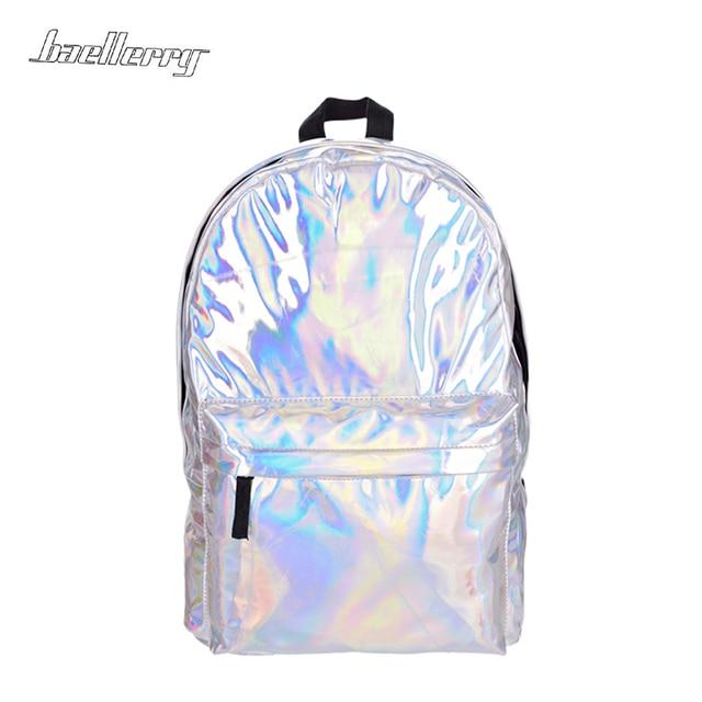 ab65341b9e101 Kobiety Hologram torba na laptopa plecak skórzany plecak do szkoły uczeń  kobiet Laser srebrny kolor holograficzny