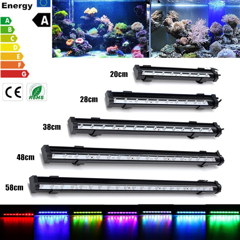 Waterproof RGB LED Light Bulb Tubes 20/28/38/48/58cm High Lumen Aquarium Fish Tank Lamp Lighting 1/1.5/2/2.5/3W 220V US EU Plug rgb led bar light aquarium fish tank lamp 20cm 1w 2835 18 smd waterproof blue white submersible down lamp lighting ac220v