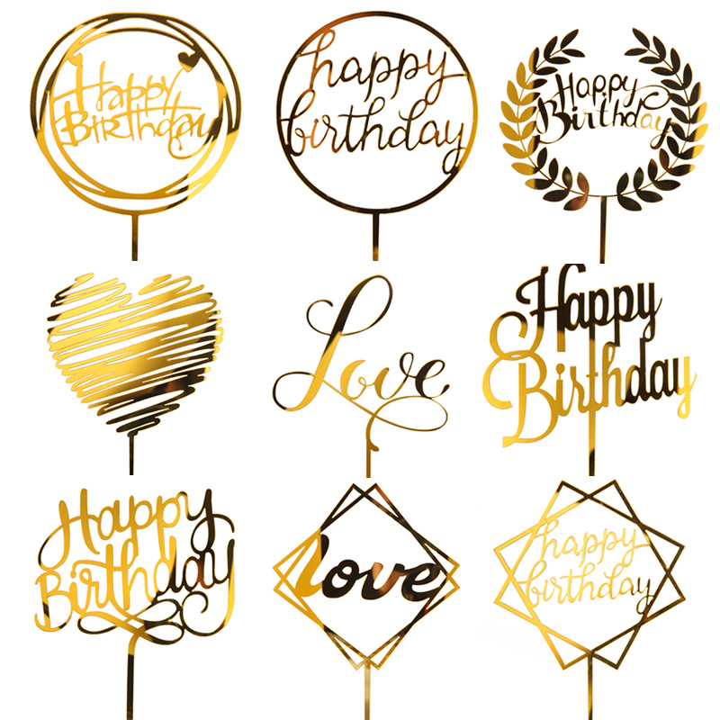 5PC Golden Glitter Acrylic Happy Birthday Cake Topper Cupcake Toppers  Top Flags Party Wedding Decoration Supplies