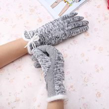 New Brand High Quality Women Winter Cotton Wool Gloves Elegant Warm Plush Bow Screen Sense Glove Mittens Cashmere Gloves(China)