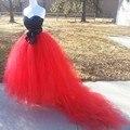 Vintage extra puff rojo falda larga de tul para la boda sash vestido de bola vestido de Novia Maxi Faldas con el Tren 7 Capas Falda de Tul Personalizado hecho