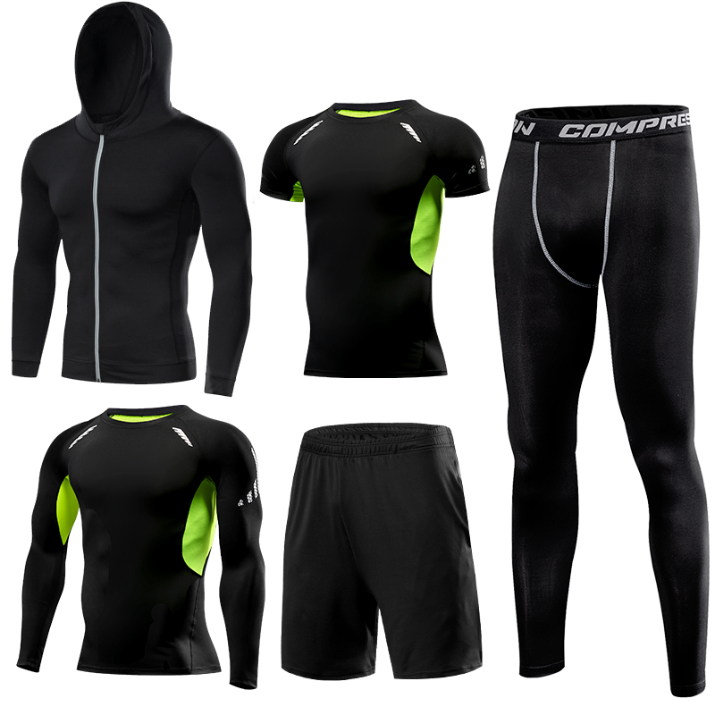 Quick Dry Running Set Men's Compression Basketball Tights Sports Running Sets Gym Fitness Sportswear Running Jogging Set Clothes - 2