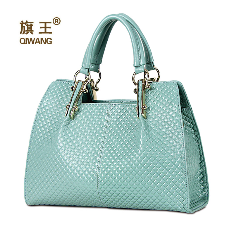 QIWANG Loved Vogue Genuine Leather Women Bag Plaid Design Famous Brand Quality L