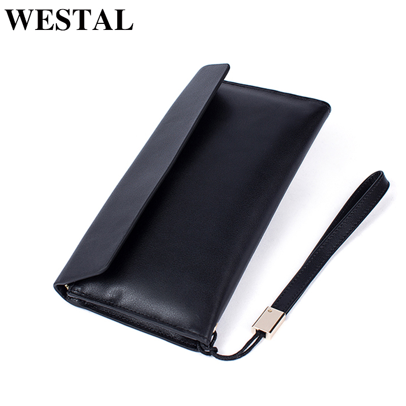 купить WESTAL Wallet Male Genuine Leather Coin Purse Men Wallet for Credit Cards Wallet Card Holder Clutch Male Zipper Fashion Wallets недорого