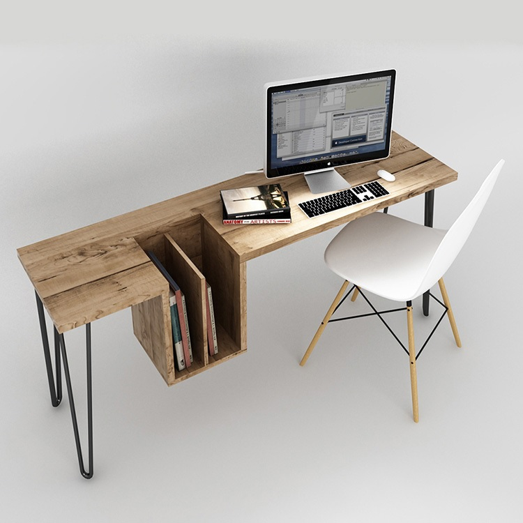 160x50cm Wood Study Desk With Metal Feet / Files Storage / 75cm High Side Tables