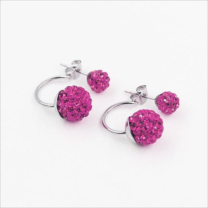 Gratis frakt 16 Färg Double Side Earring Fashion Brand Smycken Alloy - Märkessmycken - Foto 2