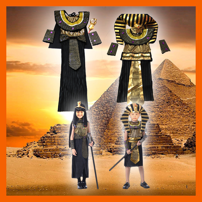 FACTORY DIRECT SELLING EGYPT HALLOWEEN COSTUME EGYPT PRINCE PRINCESS PHARAOH COSPLAY FANCY DRESS FOR KIDS BOY GIRL