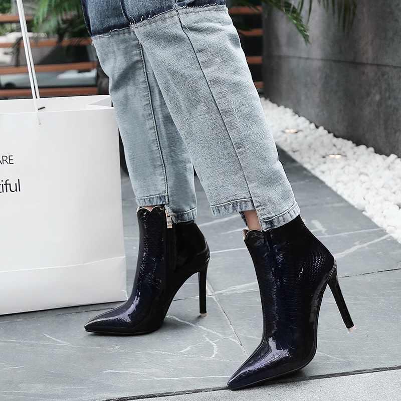 EGONERY 2019 neue mode sexy patent leder knöchel bootssuper hohe dünne heels zipper spitz rüschen große größe frauen schuhe