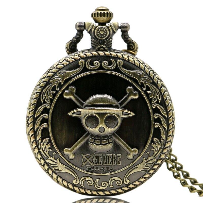 Vintage Bronze Pirate Skull One Piece Anime Quartz Pocket Watch Necklace Chain Best Gift For Men's Children