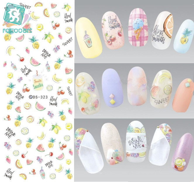 Rocooart DS323 Water Transfer Nails Art Sticker Harajuku Elements Fruits Banana Cherry Nail Wraps Sticker Manicura Decal ds336 new design water transfer nails art sticker harajuku elements blue red shrimp shell nail wraps sticker manicura decal