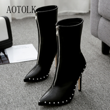 Women Ankle Boots Winter Brand Female Shoes Thin  Heels High Zip String Bead Pointed Toe Casual 2019 DE