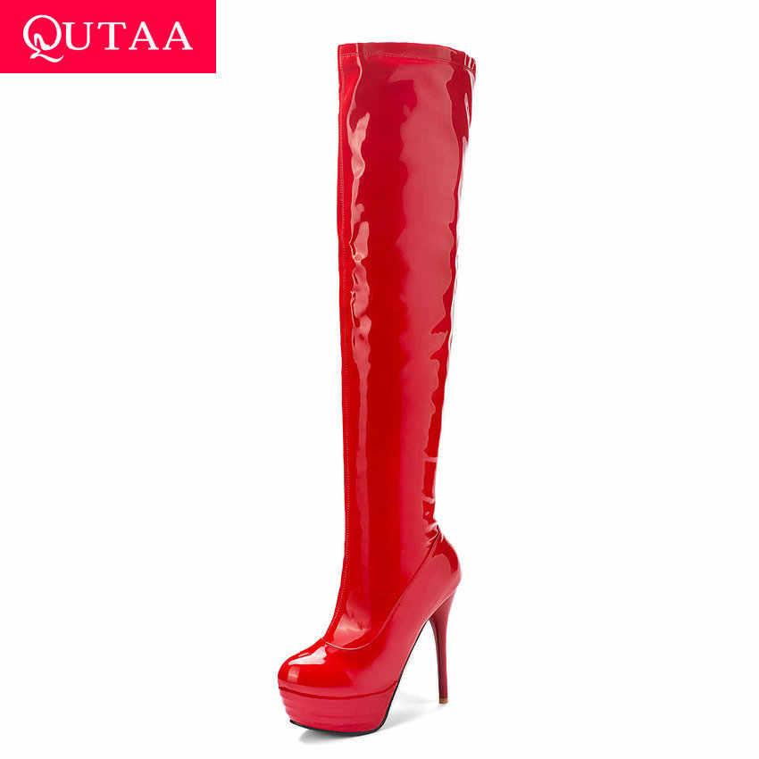 QUTAA 2020 Platformu Ince Süper Yüksek Topuk Kış Diz Çizmeler Üzerinde Patent Deri Fermuarlı Moda Kadın Uzun Çizmeler Boyutu 34-43