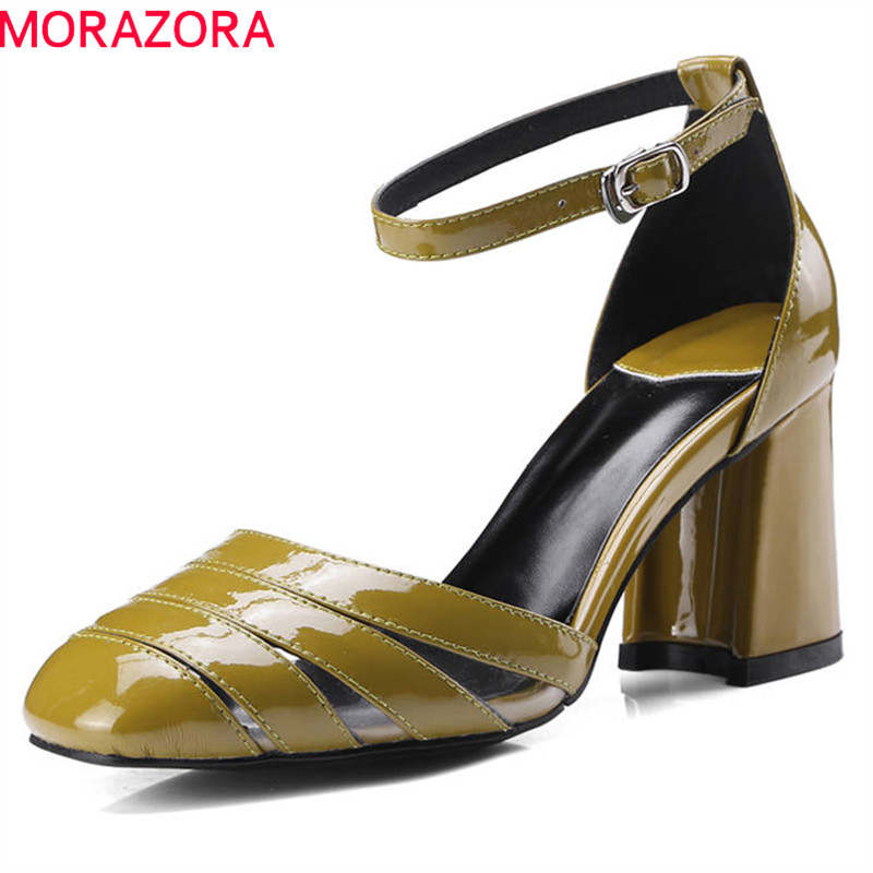 MORAZORA 2020 new arrival women pumps simple buckle summer shoes cow patent leather ladies shoes high