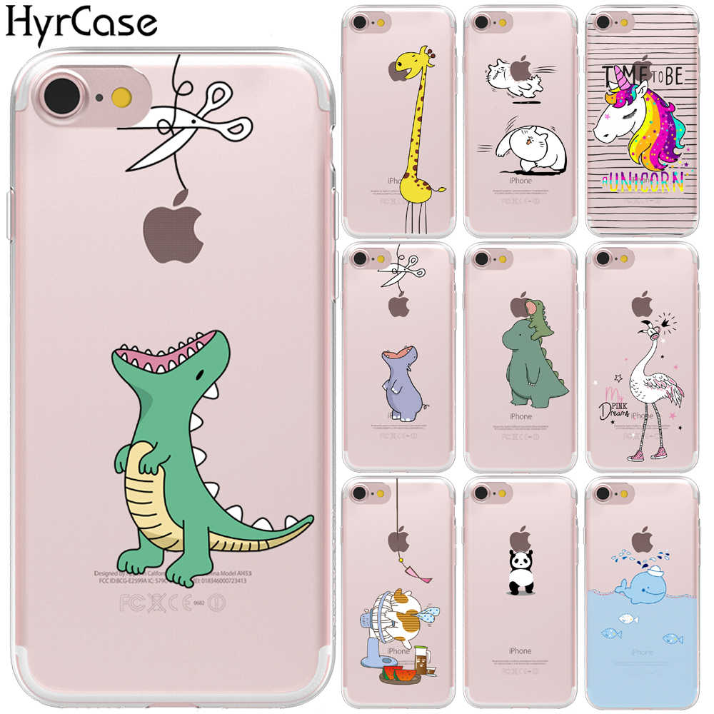 HyrCase For Funda iPhone 5 5S SE 6 6S 7 8 Plus X XS Max XR Cute Cartoon Animals Cover Soft TPU For Capa iPhone XS Max Case