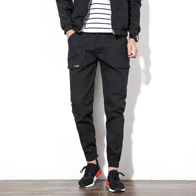 Nuevo 2016 Otoño Tendencia de La Moda Para Hombre Pantalones de Harén Gris Oscuro Informal hombres Pantalones de Bolsillo de Múltiples Pantalones Cargo de Los Hombres Chándal de Gran tamaño 5XL