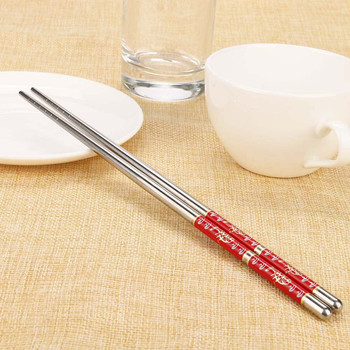 1 para długość kwiat biały wzór pałeczki ze stali nierdzewnej para japoński chiński koreański pałeczki wielokrotnego użytku Tablewar h #60 tanie i dobre opinie CN (pochodzenie) W stylu japońskim BAMBOO Pigmentowane Stałe CE UE Ekologiczne Zestaw z łyżką widelcem nożem pałeczkami
