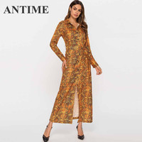 ANTIME Dress Snake Print Long Autumn Turndown Neck Sash A Line Long Sleeve Slit Women Casual High Street Dress with Buttons