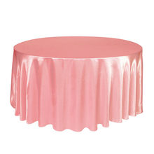 Hot 1pcs round Satin Tablecloth Table Cloth Cover Overlay Waterproof dustproof Wedding Banquet Home DIY Decoration solid color(China)