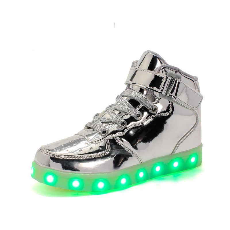 VACAS PANDA Carregamento USB Led Luminoso de Incandescência Tênis para Crianças Sapatos Com Luz up Crianças Meninas Meninos Botas Dos Homens Das Mulheres 25-42