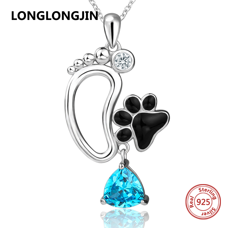 Hot sale 925 sterling silver cute animal dog foot print pendant chain necklace with CZ&enamel diy fine jewelry making women gift