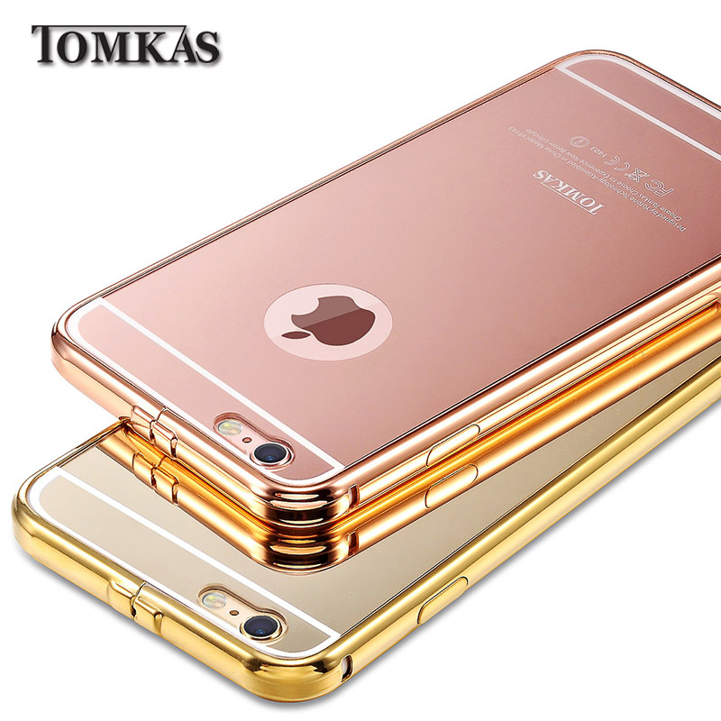 Mirror Case For iPhone 6 4.7 inch Luxury Acrylic+Aluminum Slim Back Cover For iPhone 6 Plus 5.5 Mobile Phone Coque TOMKAS