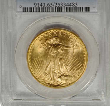 1908-D $20 Saint Gaudens Double Eagle Koin