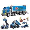 2015 Nueva Deformación Kazi ciudad Grúa Modelo de Camión Coche de Juguete Bloques de Construcción 163 unids/set Ladrillos Educativos juguetes Compatibles con Lego