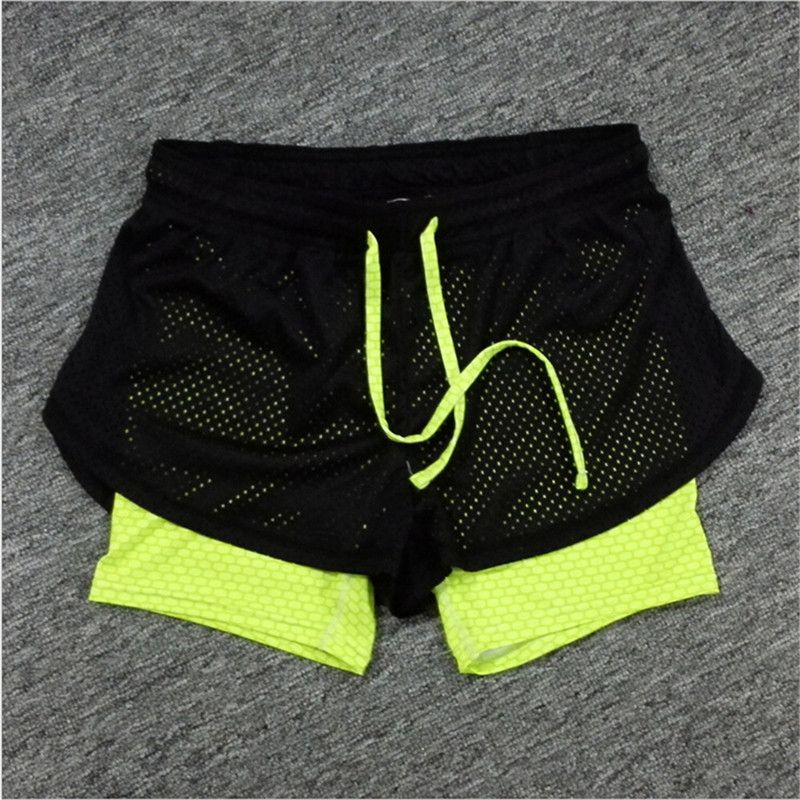 Mainland 2016 Summer Women Cotton Mesh Short Pants Work-out Two Layer Fitness Fold Short Pants Cool Wear Drawstring Clothing