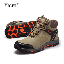 YIGER New Men Outdoor shoes winter Plush combat boots Man Lace-up Casual Leisure High-top hiking Sheep suede0218