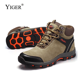 YIGER New Men Outdoor shoes winter Plush combat boots Man Lace-up Casual shoes Men Leisure High-top hiking shoes Sheep suede0218