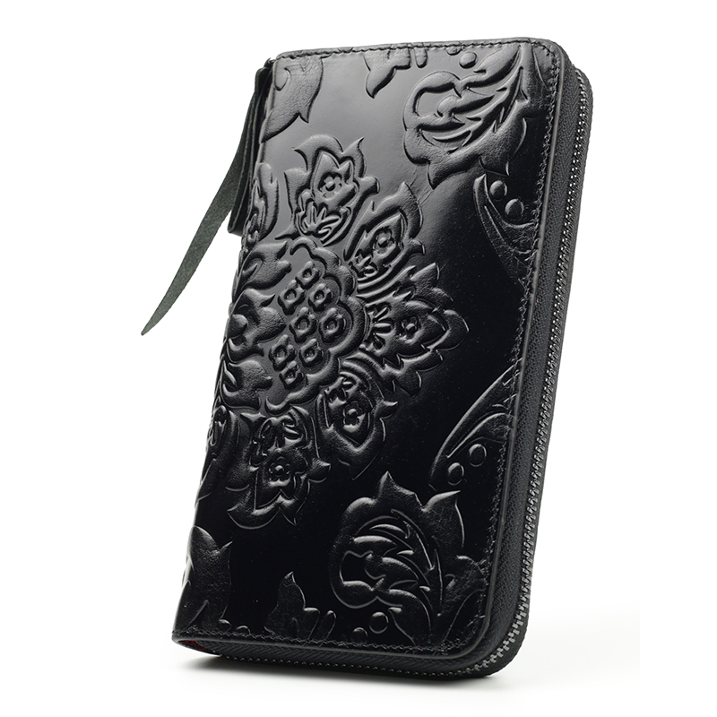 Image 5 - Premium 100% Genuine Leather Embossing Flower Women Wallets Large Capacity  Female Purses 2020 Ladies Multi function Walletswomen walletswallet largewomens wallets large -