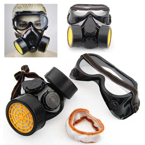 2pc Spray Paint Twin Cartridge Respirator Mask/Goggles Paint Kit Fumes Kept Out kitmmm6094mmm8200 value kit scotch photo mount spray adhesive mmm6094 and 3m n95 particle respirator 8200 mask mmm8200