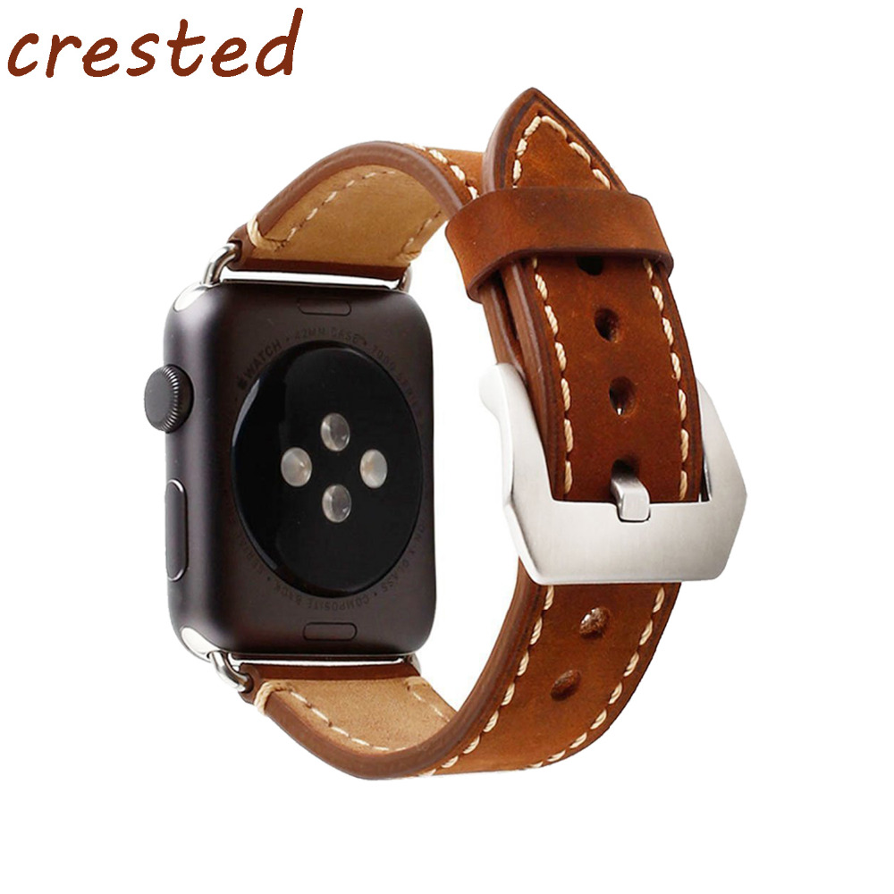 CRESTED 2018 new Genuine Leather stap for apple watch band 42mm 38mm wrist bracelet band for iwatch 3/2/1 metal buckle belt crested genuine leather strap for samsung gear s3 watch band wrist bracelet leather watchband metal buck belt